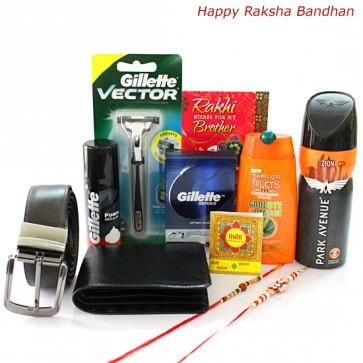 Groom it All - Garnier Shampoo, Gillette Shaving Foam, Park Avenue Deo, Gillette After Shave, Gillete Vector Razor, Black Leather Wallet, Brown Leather Belt with 2 Rakhi and Roli-Chawal