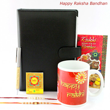 Love for Bro - Happy Rakshabandhan Mug,  I Love You Bro Wooden Pen, Leather Diary with 2 Rakhi and Roli-Chawal