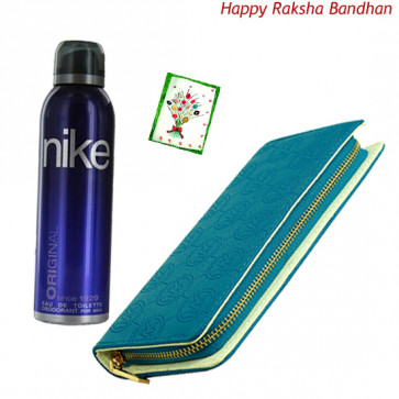 Accessories for Her - Blue Clutch, Nike Up or Down Deodorant Spray