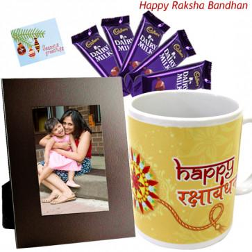Personally for Her - Happy Rakshabandhan mug, Photo Frame, Dairy Milk 5 Pcs