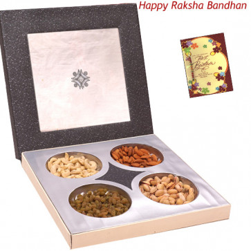Pleasing Dryfruit Treat - Assorted Dry fruits 400 gms in Decorative Box (Rakhi & Tika NOT Included)