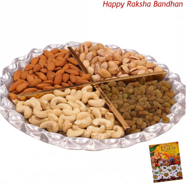 Designer Dryfruit Tray - Assorted Dry fruits 400 gms in Tray (Rakhi & Tika NOT Included)