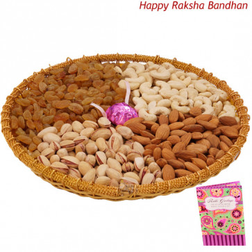 Crunchy Perfect Tray - Assorted Dryfruits in Tray with a Handmade Chocolates 500 gms (Rakhi & Tika NOT Included)
