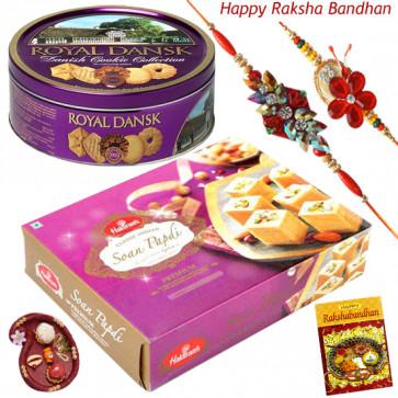 Yummy Hamper - Danish Butter Cookies 454gms, Soan Papdi with 2 Rakhi and Roli-Chawal
