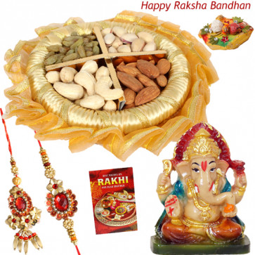 Divine Bliss - Assorted Dry Fruits in Decorative Thali (G), Lord Ganesh idol with Bhaiya Bhabhi Rakhi Pair and Roli-Chawal