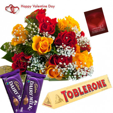 Red N Yellow Choco - 12 Red & Yellow Roses Bunch, Toblerone 50 Gms, 2 Dairy Milk Chocolates & Valentine Greeting Card