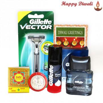Groomed Men - Gillette Razor, Foam, Aftershave with Bhaidooj Tikka and Laxmi-Ganesha Coin