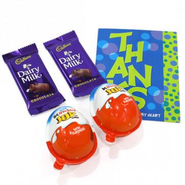 Chocolaty Kids - 2 Kinder Joy, 2 Cadbury Dairy Milk and Card