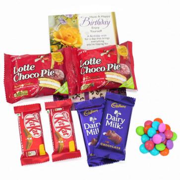 Lots of Chocolates - 2 Cadbury Dairy Milk, 2 Kit Kat, 2 Chocopie, Gems and Card
