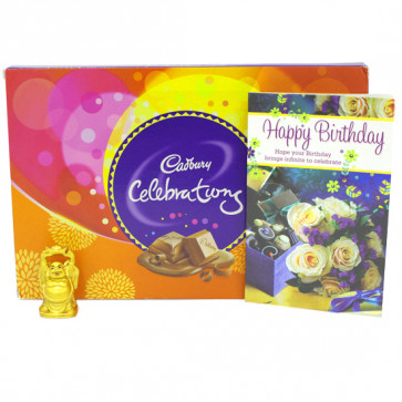 Celebration with Buddha - Laughing Buddha, Cadbury Celebrations and Card