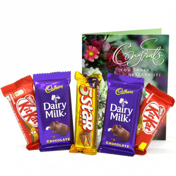 Mouth Watering Chocolates - 2 Cadbury Dairy Milk, 2 Kit Kat, Five Star and Card