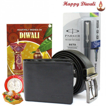 Bro's Perfection - Leather Black Wallet, Leather Black Belt, Parker Beta Standard Ball Pen with Bhaidooj Tikka and Laxmi-Ganesha Coin