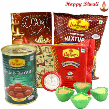 Sweet Namkeen - Haldiram Soan Papdi, Gulab Jamun, Haldiram Namkeen with 4 Diyas and Laxmi-Ganesha Coin