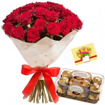 Lovely Feelings - 12 Red Roses + Ferreo Rocher 16 pcs + Card
