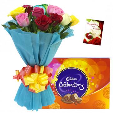 Mix of Celebrations - 12 Mix Roses Bunch, Cadbury Celebrations + Card