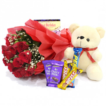 Floral Assortment - 10 Red Roses Bunch, 5 Assorted Bars, Teddy 6 inch + Card