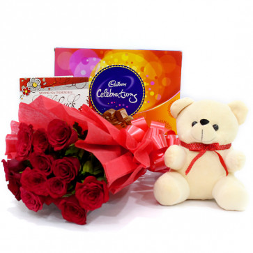 """Soft Love - 10 Red Roses Bunch + Teddy 6"""" + Cadbury's Celebration Pack + Card"""