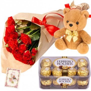 Phase with Love - 15 Red Roses Bunch, Ferrero Rocher 16 Pcs, Teddy 6 inch + Card