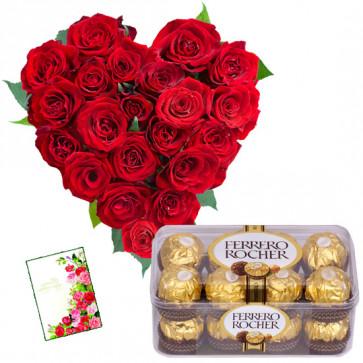 Hearty Ferrero - Heart Shaped Arrangement 25 Red Roses, Ferrero Rocher 16 Pcs + Card