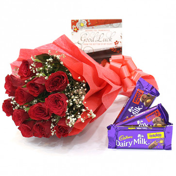 Rosy Nut - 10 Red Roses with 2 Fruit & Nut & Crackle+ Card