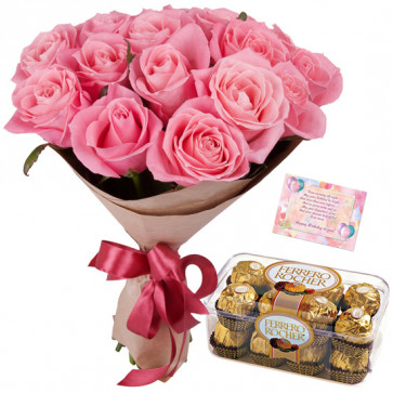 Red Ferrero Treat - 12 Pink Roses Bunch, Ferrero Rocher 16 Pcs + Card