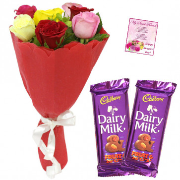 Flowers N Bars - 6 Mix Roses Bunch, 2 Fruit N Nut + Card