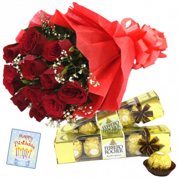 Double Roses - 10 Red Roses Bunch, 2 Ferrero Rocher 4 Pcs each + Card