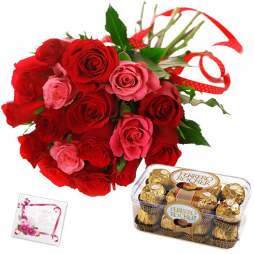 Deep Romance - 6 Red & 6 Pink Roses, Ferrero Rocher 16 Pcs + Card