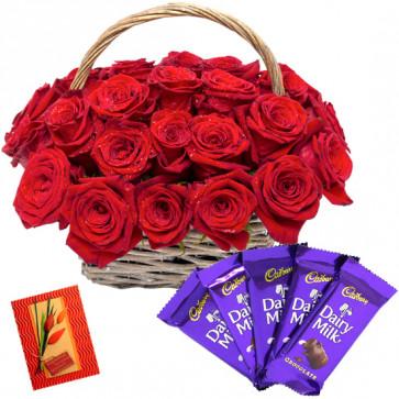 Basket N Bars - 25 Red Roses Basket, 5 Cadbury Dairy Milk Bars + Card