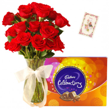 Love Attachment - 10 Red Roses in Vase, Cadbury Celebration + Card