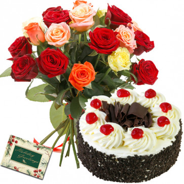 Compelled to Joy - 12 Mix Roses Bunch, 1/2 Kg Cake + Card