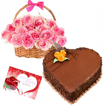 Memories - 15 Pink Roses Basket + Heart Cake 1kg + Card