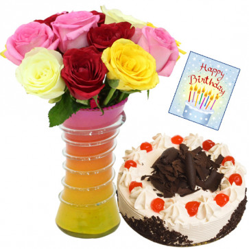 Love n Care - 10 Mix Roses in Vase, 1/2 kg Cake + Card