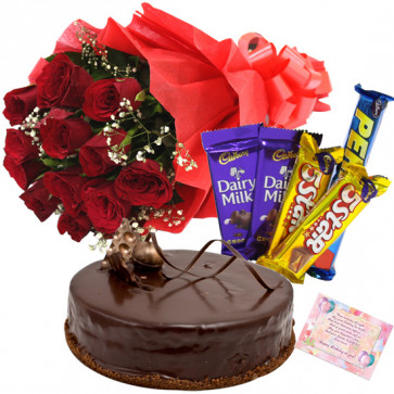 Offbeat Choice - 12 Red Roses Bunch, 1/2 Kg Cake, 5 Assorted Bars + Card