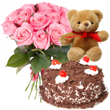 Magnificent Combo - 12 Pink Roses, 1/2 Kg Cake, Teddy Bear 6 inch + Card