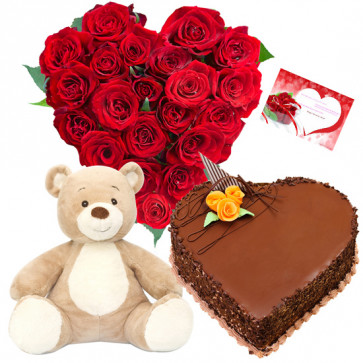 Softy Roses Hamper - 25 Red Roses Heart Shape Arrangement, 1 KG Heart Shape Cake, Teddy 6 inch+ card