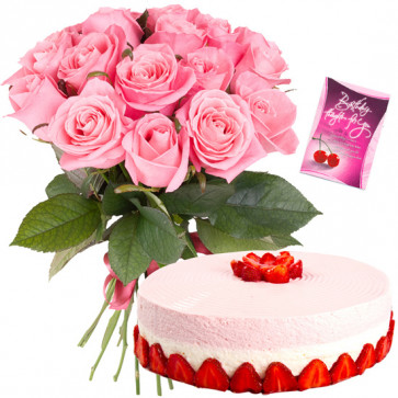 Generous Treat - 12 Pink Roses Bunch, 1/2 Kg Strawberry Cake + Card
