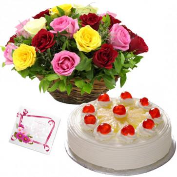 Kind Delight - 15 Mix Roses Basket, 1/2 Kg Cake + Card