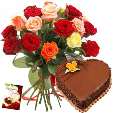 Rose Bunch N Cake - 12 Mix Roses + Heart Cake 1 kg + Card