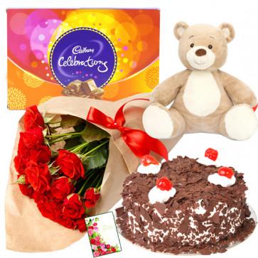 Affecting You - 12 Red Roses + Half KG Cake + Teddy 6 inch + Cadbury Celebration + Card