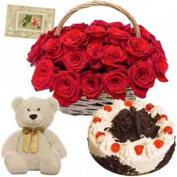 Eye Gripping - 20 Red Roses Basket, 1/2 Kg Cake, Teddy Bear 6 inch + Card