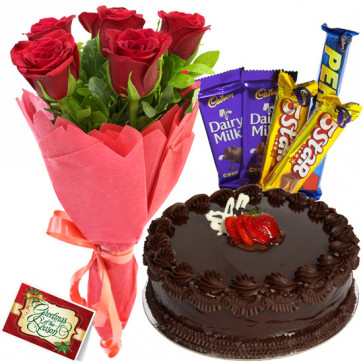 Flower N Cake Bonanza - 10 Red Roses Bunch, 1/2 KG Cake, 5 Assorted Bars + card