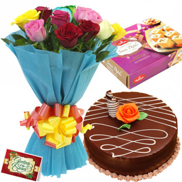 Spellbinding Mix - 12 Mix Flowers Bunch, 1/2 Kg Cake, Soan Papdi + Card