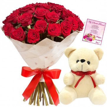 "Lovely Association - 12 Red Roses + Teddy 6"" + Card"