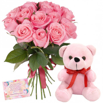 Delight N Surprise - 12 Pink Roses Bunch, Teddy 6 inch + Card
