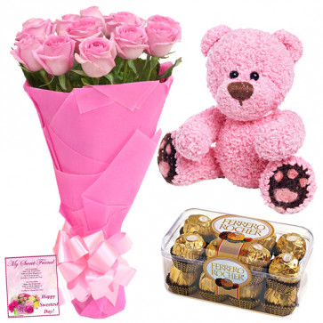 Pink Roses N Ferrero - 10 Pink Roses Bunch, Teddy 6 inch, Ferrero Rocher 16 pcs + Card
