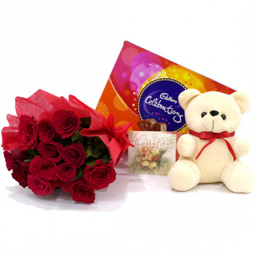 Roses Teddy N Chocos - 15 Red Roses Bunch, Teddy 6 inch, Cadbury Celebrations + Card