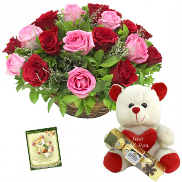 Red N Pink Combo - 15 Red & Pink Roses in Basket, Teddy 6 inch with Heart, Ferrero Rocher 4 pcs + Card