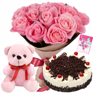 Awesome Threesome - 12 Pink Roses, Teddy 6 inch, 1/2 kg Chocolate Cake + Card