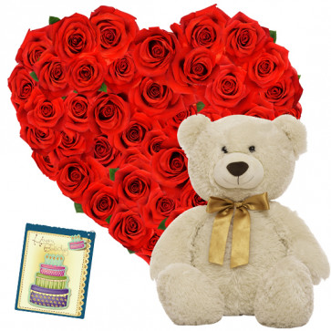 "Exquisite - Heart Shaped Arrangement 30 Red Roses + Teddy Bear  6"" + Card"